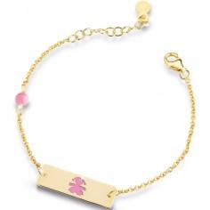 Bracelet sur chaîne Primegioie fille rectangle émail rose (or jaune 375°)