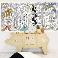 Stickers muraux à colorier Jungle (115 x 240 cm)