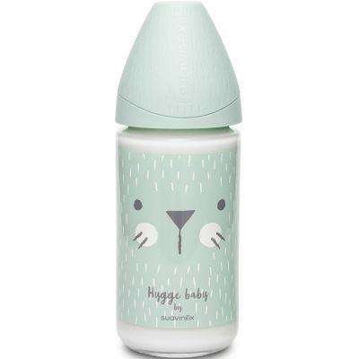 Biberon en verre Hygge Baby moustaches lapin vert (240 ml)  par Suavinex