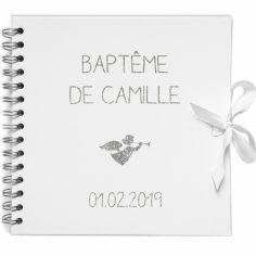 Album photo baptême personnalisable blanc et argent (20 x 20 cm)