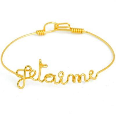 Bracelet Je t'aime en fil Gold-filled or jaune 585° (16 cm)  par Hava et ses secrets