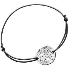 Bracelet cordon noir Cheval Gaulois 18 mm (argent 950°)