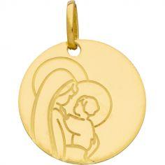 Médaille ronde Vierge à l'enfant (or jaune 750°)