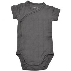 Body manches courtes anthracite (0-2 mois : 56-62 cm)