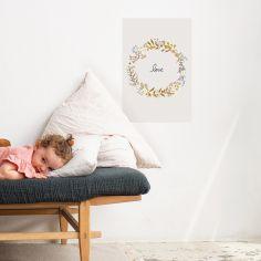 Grande affiche couronne de fleurs Love Liv (60 x 40 cm)
