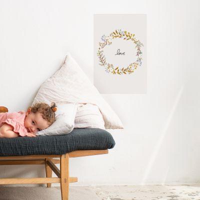 Grande affiche couronne de fleurs Love Liv (60 x 40 cm)  par Mimi'lou