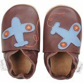 Chaussons en cuir Soft soles avion marron (3-9 mois) - Bobux