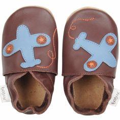 Chaussons en cuir Soft soles avion marron (3-9 mois)