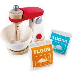 Robot pâtissier en bois blanc et rouge (4 pièces)