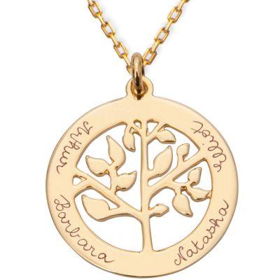 Collier grand arbre de vie personnalisable (plaqué or)  par Merci Maman