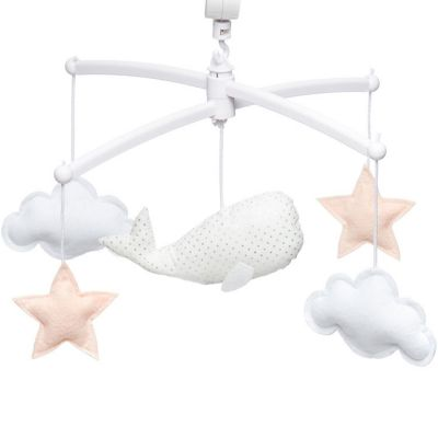Mobile musical baleine blanc et nude (mélodie au choix)