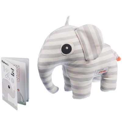 Coffret doudou Elphee l'éléphant gris et livre (2 pièces) Done by Deer