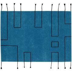 Tapis en laine Nordic Lines bleu pétrole (170 x 240 cm