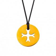Collier cordon médaille Mini Croix Byzantine 10 mm (or jaune 750°)