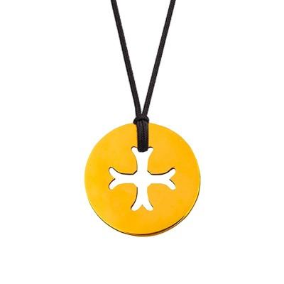 Collier cordon médaille Mini Croix Byzantine 10 mm (or jaune 750°) Maison La Couronne