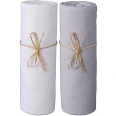 Lot de 2 draps housses en coton bio blanc et gris (60 x 120 cm)