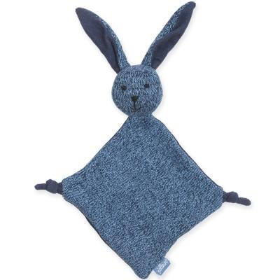Doudou plat lapin Stonewashed knit bleu foncé (28 cm) Jollein