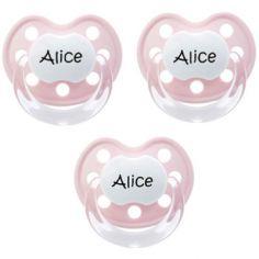 Lot de 3 sucettes personnalisables roses physiologiques Baby-nova Deluxe en silicone (0-6 mois)