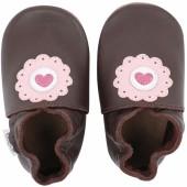 Chaussons en cuir Soft soles marron dolie (9-15 mois) - Bobux