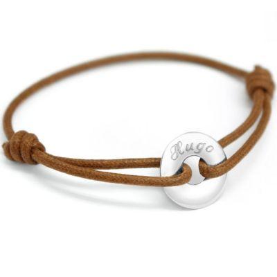 Bracelet cordon Mini jeton (or blanc 375°)  par Petits trésors