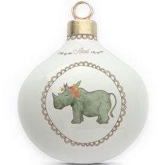 Boule en porcelaine Rhinocéros couronne de fleurs (personnalisable)