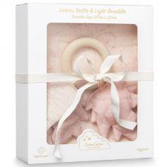 Coffret cadeau maxi lange + hochet anneau Dandelion rose