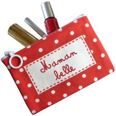 Mini Pochette Fête des mères rouge (personnalisable) Les Griottes
