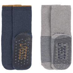 Lot de 2 paires de chaussettes antidérapantes en coton bio bleu (pointure 19-22)