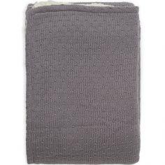 Couverture en tricot Teddy Bliss knit storm grey gris (75 x 100 cm)