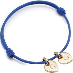 Bracelet cordon 2 charms coeur personnalisable (plaqué or)