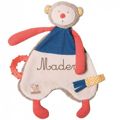 Doudou attache sucette singe Les Papoums personnalisable  par Moulin Roty