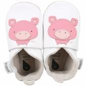 Chaussons bébé en cuir Soft soles Cochon roses et blancs (3-9 mois) - Bobux