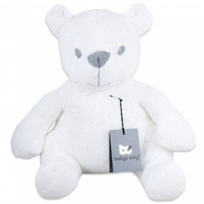 Peluche ourson Cable Uni blanc (35 cm) Baby's Only
