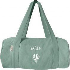 Sac de voyage enfant vert amande en coton (personnalisable)