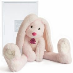 Peluche Lapin Fluffy aux longues jambes rose (38 cm)