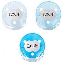 Lot de 3 sucettes personnalisables bleues rondes Baby-nova en silicone (3-36 mois)  par Baby Tute