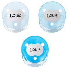 Lot de 3 sucettes personnalisables bleues rondes Baby-nova en silicone (3-36 mois)