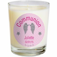 Bougie artisanale communion ou baptème ailes roses (personnalisable)