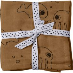 Lot de 2 langes Sea Friends jaune moutarde (70 x 70 cm)