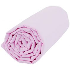 Drap housse coton bio Claudine rose (60 x 120 cm)