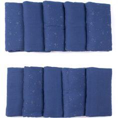 Tour de lit modulable et respirant bleu et argenté (pour lits 60 x 120 et 70 x 140 cm)
