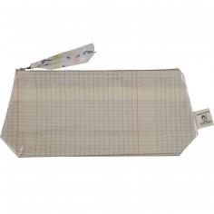 Trousse en coton enduit cahier d'écolier (15 x 28 cm)