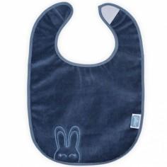 Bavoir plastifié à velcro Sweet bunny bleu
