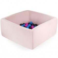 Piscine à balles carrée rose clair personnalisable (90 x 90 x 40 cm)