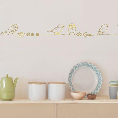 Frise murale Perles et Oiseaux Gold (5 m)  par Mimi'lou