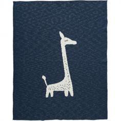 Couverture en coton bio girafe bleu marine (80 x 100 cm)