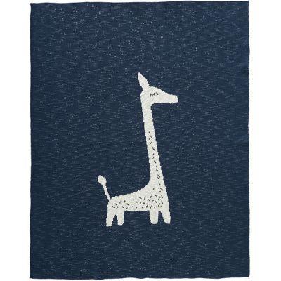 Couverture en coton bio girafe bleu marine (80 x 100 cm)  par Fresk