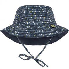 Chapeau anti-UV réversible Splash & Fun Pois bleu (0-6 mois)