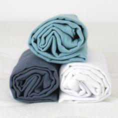 Lot de 3 langes en coton bio bleu ardoise (60 x 60 cm)