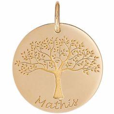 Médaille de naissance Mathis personnalisable 18 mm (or jaune 750°)
